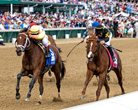 Dame Dorothy, Javier Castellano in the irons, wins the Humana Distaff (GI) at Churchill Downs in Louisville, Kentucky.