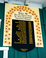 Stall 40 Preakness winners sign at Pimlico Race Course in Baltimore, Maryland.
