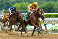 Cavorting, Irad Ortiz, Jr., up wins the Jersey Girl Stakes at Belmont Park in Elmont, New York.
