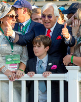 Trainer Bob Baffert gives a thumbs up in the winner's circle after winning the 147th Belmont Stakes (GI) and the Triple Crown.