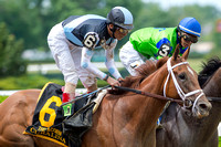 Curalina, John Velazquez up, trained by Todd Pletcher, wins the Acorn Stakes (GI) at Belmont Park in Elmont, New York.