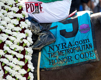 "Honor Code, ridden by Javier Castellano and trained by Shug McGaughey, wins the Metropolitan Handicap (GI), a Breeders' Cup Challenge ""Win and You're In"" qualifying race at Belmont Park in Elmont, New"