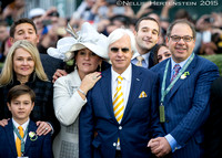 Jill Baffert, Bode Baffert, Joanne Zayat, Bob Baffert, Justin Zayat and Ahmed Zayat in the winners' circle after Triple Crown winner American Pharoah, ridden by Victor Espinoza, won the Breeders' Cup