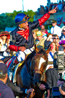 Joel Rosario celebrates  after winning the Belmont Stakes with Tonalist at Belmont Park in New York.