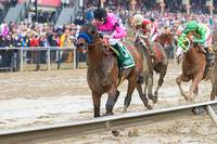 American Freedom, Florent Geroux aboard, trained by Bob Baffert, wins the Latin American Racing Channel Sir Barton Stakes at Pimlico Race Course in Baltimore, Maryland.