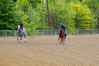 Preakness contenders Collected, trained by Bob Baffert and Cherry Wine, trained by Dale Romans, exercise at Pimlico Race Course in Baltimore, Maryland.