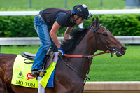 Mo Tom, trained by Tom Amoss, gallops in preparation for the Kentucky Derby in Louisville, Kentucky.