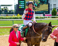 Carina Mia, Julien Leparoux up, trained by Bill Mott, wins the Eight Belles Stakes at Churchill Downs in Louisville, Kentucky.