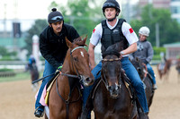 Land Over Sea, trained by Doug O'Neill, jogs in preparation for the Kentucky Oaks in Louisville, Kentucky.