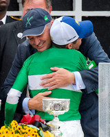 Matt Bryan, owner of Preakness winner Exaggerator, celebrates with jockey Kent Desormeaux at Pimlico Race Course in Baltimore, Maryland.