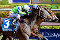 Imperative (outside) battles Stanford (inside) to the finish of the 2017 Poseidon Stakes on Pegasus World Cup Invitational day at Gulfstream Park.