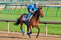 Kentucky Oaks 138 contender Jemima's Pearl gallops around the track.