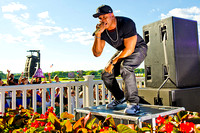 LL Cool J performs for the fans on Belmont Stakes day at Belmont Park in New York.