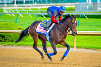 Ria Antonia gallops around Churchill Downs in preparation for the 140th Kentucky Oaks.