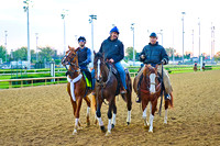 Tapiture (left) is escorted by trainer Steve Asmussen (center) and flanked by Hall of Fame trainer Wayne Lukas (right) at Churchill Downs after daily preparation for the 140th Kentucky Derby.