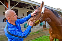 Kentucky Derby 140 contender Commanding Curve is tended to by West Point Thoroughbreds principal owner Terry Finley.