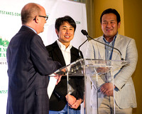 Andy Serling (left) interviews Belmont Stakes contender Lani's trainer Mikio Matsunaga (center) and assistant trainer Keita Tanaka (right) at the 2016 Belmont Stakes Festival Post Draw at Rockefeller
