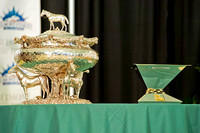 The August Belmont trophy is flanked by the Triple Crown Trophy at the Belmont Stakes post position draw at Belmont Park in New York.