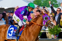 California Chrome, Victor Espinoza up, wins the 139th Preakness Stakes at Pimlico Race Course in Baltimore, Maryland.