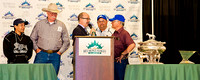 Connections of Belmont Stakes and Triple Crown contender California Chrome (l to r) Jockey Victor Espinoza, co-owner Steve Coburn, NYRA emcee Andy Serling, assistant trainer Alan Sherman and trainer A