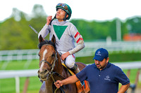 Jose Ortiz, aboard Palace, celebrates after winning the Grade 2 True North Stakes at Belmont Park in New York.