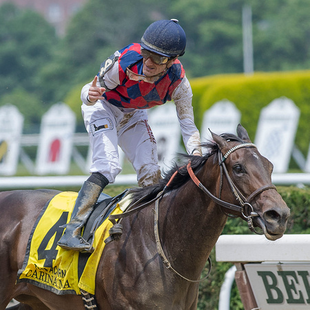 Carina Mia, with Julien Leparoux up, trained by Bill Mott, wins the Grade I Acorn Stakes at Belmont Park in Elmont, New York.